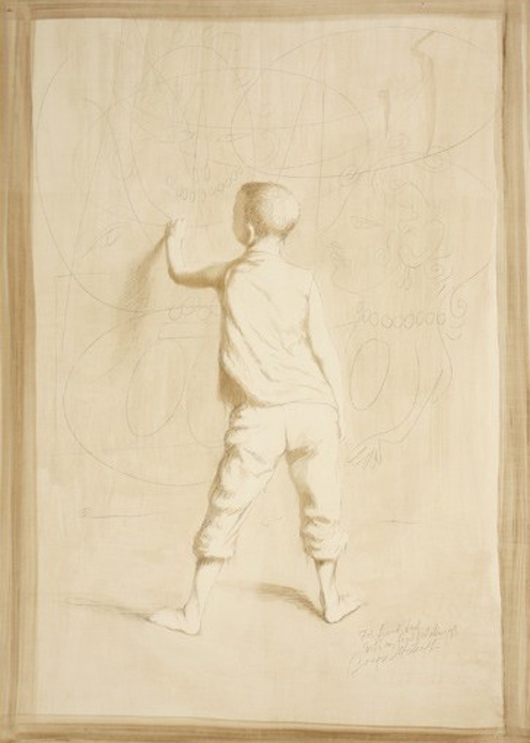 Conger Metcalf (American 1914-1998), 'Boy Drawing,' ink wash drawing. Estimate: $700-$1,000. Image courtesy of Michaan's Auctions.