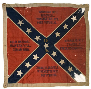 Civil War flag from 10th Virginia Infantry, Army of Northern Virginia, produced August 1863, from the Archive of J.G. Miller, auctioned Dec. 4, 2008 at Cowan's Auctions for $435,500. Image courtesy of LiveAuctioneers.com Archive and Cowan's Auctions Inc., Cincinnati.