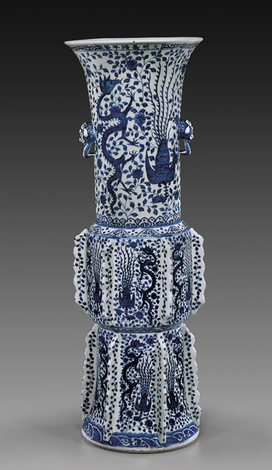 Twelve-flanged Ming dynasty porcelain palace vase, 34 inches high, which sold for $183,000 during New York Asia Week in March 2011. Image courtesy of I.M. Chait.