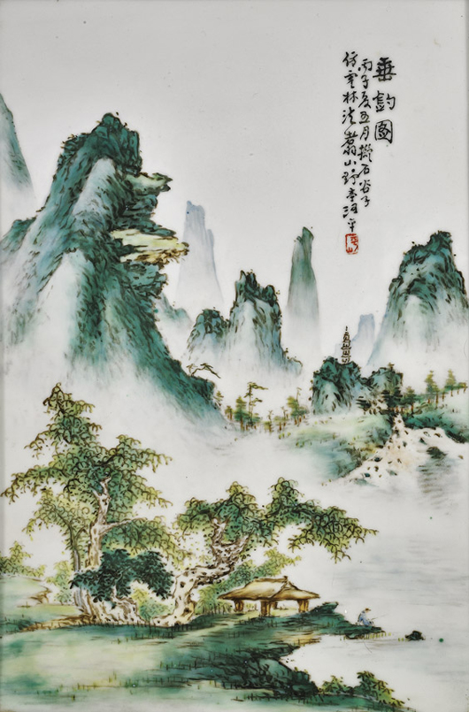 Antique Chinese porcelain tile with mountainous landscape scene, 19th century, with inscription and seal mark, 15 inches tall, estimated at $600-$800, sold for $67,000 in 2011. Image courtesy of I.M. Chait.