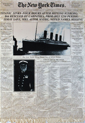 The April 16, 1912, issue of 'New York Times' pictured the Titanic and her captain on the front page. Image courtesy of LiveAucitoneers.com Archive and Guernsey's.