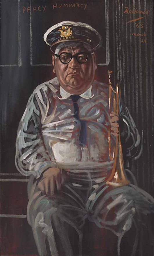 Noel Rockmore (American/New Orleans, 1928-1995), 'Percy Humphrey,' oil on canvas, signed and dated 'March 24, '63,' 50 inches x 30 inches in a period frame. Neal Auction Co. in New Orleans sold this portrait for $9,200 in 2004. Image courtesy of LiveAuctioneers.com Archive and Neal Auction Co.
