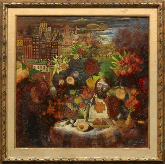 Noel Rockmore, 'The Last Supper,' 1974, oil and mixed media on canvas, signed and dated lower right 'Rockmore 74,' 36 1/4 inches x 36 1/4 inches, in a giltwood frame, sold at auction for $8,500 in 2009. Image courtesy of LiveAuctioneers.com Archive and New Orleans Auction Galleries Inc.