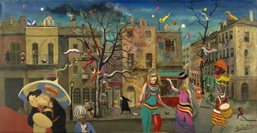Noel Rockmore, 'Mardi Gras Street Scene, New Orleans,' 1980, oil on canvas, dated, inscribed and signed 'Rockmore '80, New Orleans,' 24 inches x 48 inches, unframed, sold at auction for $8,500 in  2010. Image courtesy of LiveAuctioneers.com Archive and New Orleans Auction Galleries Inc.