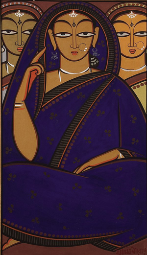 Renowned Indian artist Jamini Roy (1887-1972) painted this gouache on card, which is signed in Bengali lower right. The work, 26 1/2 inches x 15 1/2 inches, was acquired in India by an American collector. It sold at auction in 2010 for $17,000 plus the buyer's premium. Image courtesy of LiveAuctioneers.com Archive and Jackson's International Auctioneers & Appraisers.