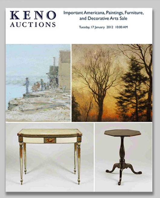 Keno Auctions will present Important Americana, Paintings, Furniture and Decorative Arts on Jan. 17, 2012, with Internet live bidding through LiveAuctioneers.com. Image courtesy of Keno Auctions.