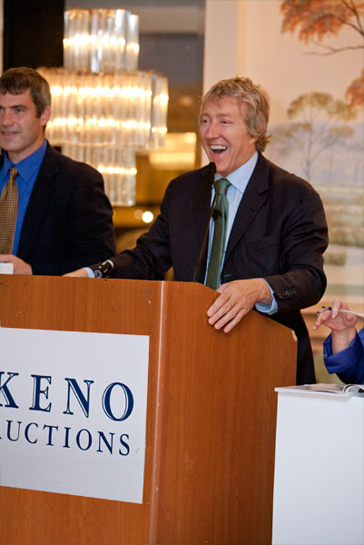 Leigh Keno is one of the most immediately recognizable figures in the antiques and fine art trade. He presides at the podium at all sales conducted by Keno Auctions. Image courtesy of Keno Auctions.