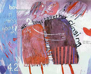 A work typical of David Hockney's style is the 1961 oil on board titled 'We Two Boys Together Clinging.' Fair use of copyrighted low-resolution image used to demonstrate Hockney's artistic genre.