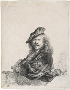 Rembrandt self-portrait, original etching, signed and dated 1639, 8 5/16 inches x 6 1/2 inches. Estimate: $145,000-$150,000. Image courtesy of Universal Live.