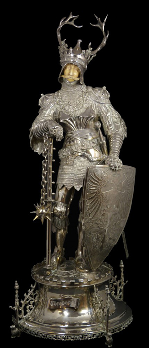 Magnificent German-made Hanau silver and ivory Theodorich figure (est. $30,000-$40,000). Image courtesy of Elite Decorative Arts.