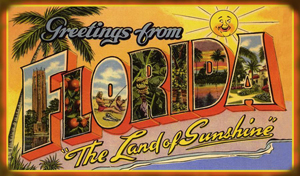 Vintage large-letter postcard 'Greetings from Florida.' Image courtesy of Floridiana Festival & Highwaymen Artist Show.