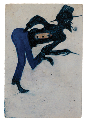 Bill Traylor, Untitled, circa 1939–1947, poster paint, pencil, colored pencil, and charcoal on cardboard, 10⅝ x 7¼ inches, High Museum of Art, T. Marshall Hahn Collection, 1997.115.