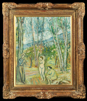 Sigmund Menkes (1896- 1986), 'Figures in a Forest,' oil on canvas, signed lower right, 24 inches high x 20 inches wide. Estimate $15,000-$20,000. Image courtesy of Gray's Auctioneers.