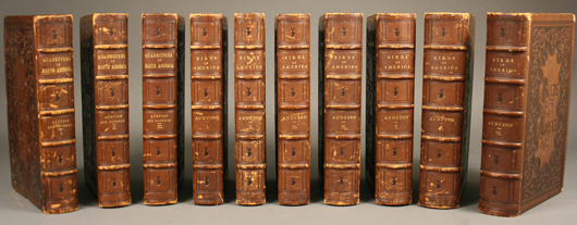 A rare complete 10-volume Octavo set of John J. Audubon's 'Birds of America and Quadrupeds of North America,' published in the mid-19th century, is estimated at $30,000-$40,000. Image courtesy of Case Antiques Auction.