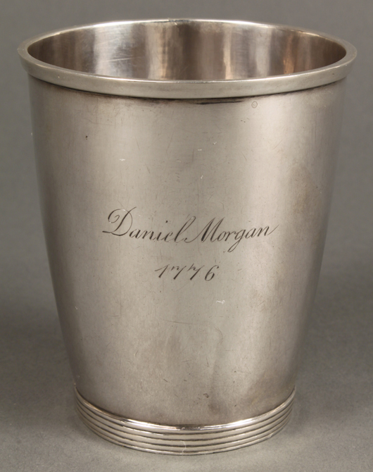 A Winchester, Va., beaker with probably later inscription 'Daniel Morgan' (a Revolutionary War hero from the area), is among more than three dozen lots of coin silver being offered (est. $1,000-$2,000). Image courtesy of Case Antiques Auction.