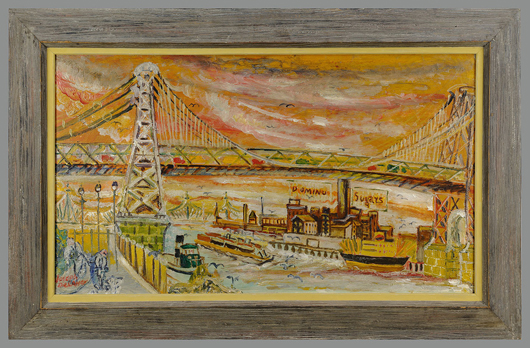 Although born in Tennessee, Joseph Delaney is best known for his paintings of New York City. This one depicts the Williamsburg Bridge and is estimated at $10,000-$12,000. It is one of five Delaney works in the auction. Image courtesy of Case Antiques Auction.