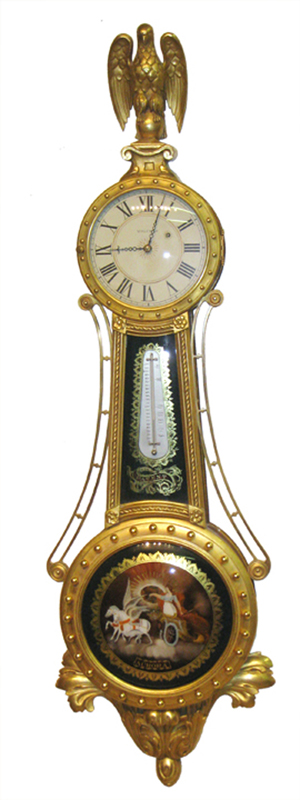 The top lot of the sale was this Waltham girandole (ornate banjo) clock, serial No. 1, which sold for $17,255. Image courtesy of Gordon S. Converse & Co.
