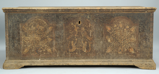 This late 18th-century blanket chest, recently discovered in Wythe County, Va., features original painted mermaids and parrot motifs in the center panel, similar to those found on fraktur from the area (est. $20,000-$30,000). Image courtesy of Case Antiques Auction.