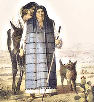 The Kumeyaay People are believed to have worn capes made of the skin or sea otter, seal or deer. Illustraton by Juan Rodriguez Cabrillo. Image courtesy of Wikimedia Commons.