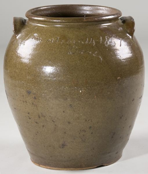 This 5-gallon ovoid jar is inscribed 'L M october 14 1857 Dave.' It sold at auction in 2009 for $23,000 plus premium. Image courtesy of LiveAuctioneers.com and Leland Little Auction and Estate Sales Ltd.