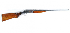 Machine Gun Kelly used this shotgun in the kidnapping of Charles F. Urschel in July 1933. It is a 12-gauge John W. Price model, which was a trade name for guns sold by Belknap Hardware Co. stores. Image courtesy of California Auctioneers.