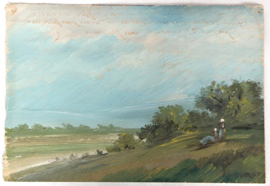 Oil on ledger paper painting by noted French artist Jean-Baptiste Corot (est. $20,000-$40,000). Image courtesy of Fontaine's Auction Gallery.
