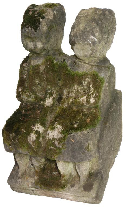 Double-seated figure garden sculpture by William Edmondson, 26 in. tall (est. $40,000-$60,000). Image courtesy of Fontaine's Auction Gallery.