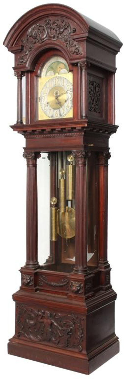 Impressive mahogany figural carved grandfather clock, 103 inches tall (est. $8,000-$12,000). Image courtesy of Fontaine's Auction Gallery.