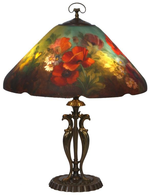 Eighteen-inch. Handel reverse painted floral poppy table lamp with conical shade (est. $30,000-$50,000). Image courtesy of Fontaine's Auction Gallery.