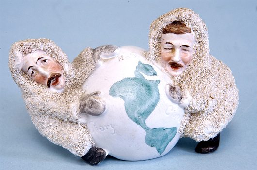 """Whimsy meets history in this snow """"babies"""" pairing of explorers Robert Peary and Frederick Cook arguing over who was first to reach the North Pole. The German porcelain group, circa 1910, sold for an impressive $2,475 in 2005, when Bertoias auctioned off the Linda Vining collection. Courtesy LiveAuctioneers.com Archive and Bertoia Auctions."""