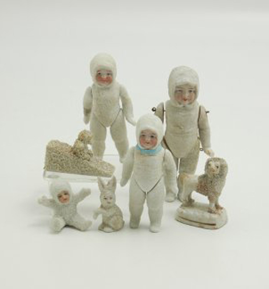 These rare jointed snow babies – the tallest 5 inches – were made in Germany 1900-1910. With a selection of related figures, they brought $230 at auction in 2009. Courtesy LiveAuctioneers.com Archive and Bertoia Auctions.
