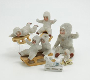 Snow babies are all about winter sports. The sled with two riders is marked 'Germany' on the base. The entire group sold for $316 in a 2009 Bertoia sale. Courtesy LiveAuctioneers.com Archive and Bertoia Auctions.