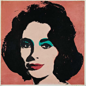 Andy Warhol, 'Liz,' 1964, offset lithograph in colors, on wove paper, 23 x 23 inches, signed and dated '65' in ink (faded), published by Leo Castelli Gallery, New York, framed. Estimate: $6,000-$9,000. Image courtesy of Phillips de Pury & Co.