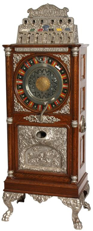 Caile Eclipse upright 25-cent oak slot machine, refinished and working (est. $15,000-$25,000). Image courtesy of Fontaine's Auction Gallery.