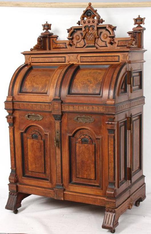 Walnut extra-grade Renaissance Revival Wooton desk in excellent shape (est. $15,000-$25,000). Image courtesy of Fontaine's Auction Gallery.