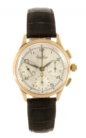 Rare 18-karat gold manual wind man's Breitling Duograph wristwatch, circa 1945, fitted to an associated brown crocodile strap, unsigned 20-jewel Venus caliber 185 with rattrapante chronograph complication. Estimate: £12,000-£18,000 ($18,500-$27,800). Image courtesy of Fellows.