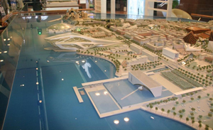 A scale model of Saadiyat Island in Abu Dhabi, United Arab Emirates, where the Guggenheim and Louvre museums will be built. Permission is granted to copy, distribute and/or modify this document under the terms of the GNU Free Documentation License.