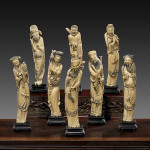 Rare set of beautifully carved Chinese ivory figures representing the Eight Immortals, each finely detailed and carrying his or her own attributes, each approximately 13 to 14 inches high. Estimate: $25,000-$30,000. Image courtesy of I.M. Chait.