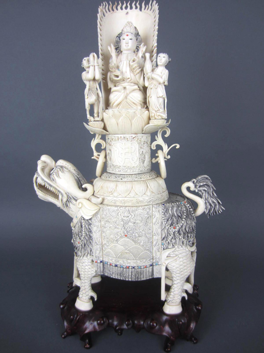 Chinese ivory foo lion group, $4,200. Leighton Galleries image.