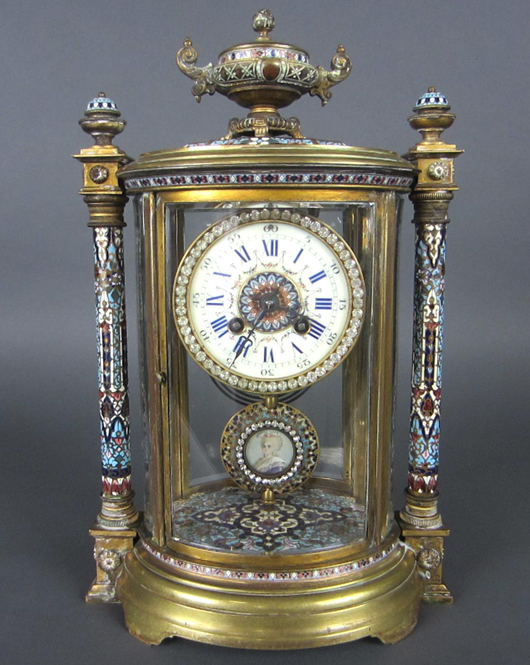 French champleve crystal Regulator clock, $7,600. Leighton Galleries image.