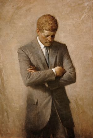 Official White House portrait of John F. Kennedy (1917-1963), 35th President of the United States, painted posthumously (1970) by Aaron Shikler. White House Historical Association image.
