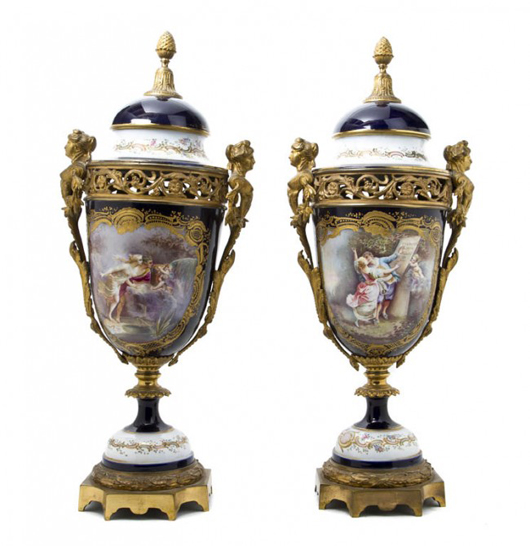A pair of gilt bronze mounted cobalt urns. Sold for $10,370. Image courtesy Leslie Hindman Auctioneers.