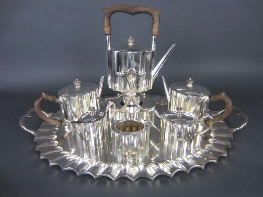 7-piece sterling silver coffee and tea service, $7,600. Leighton Galleries image.