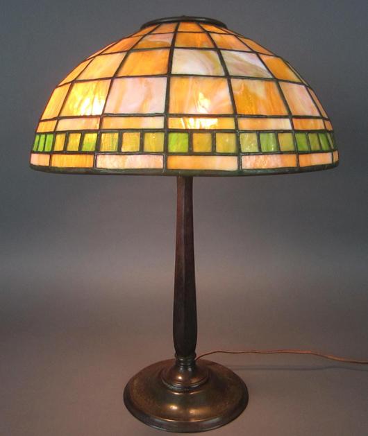 Tiffany Studios leaded-glass lamp, $5,000. Leighton Galleries image.