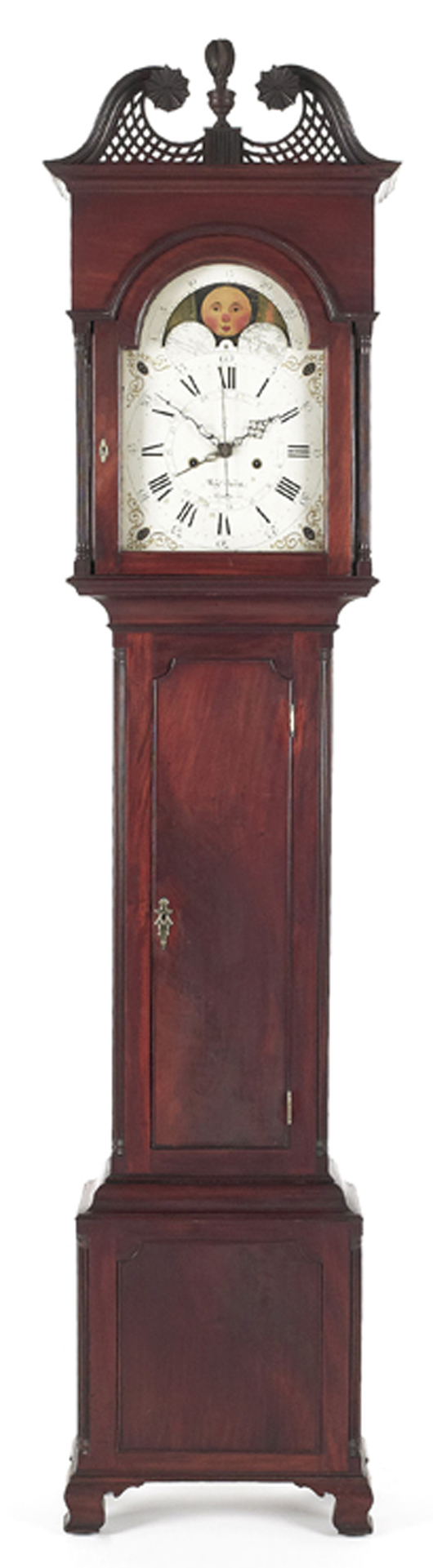 The first lot of the sale, a Chester County, Pa., mahogany tall case clock by Benjamin Garrett of Goshen Township, went to a local collector for $45,030. Image by Pook & Pook Inc.