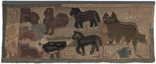 Magdalena Briner Eby of Perry County, Pa., made this hooked rug during the second half of the 19th century or the beginning of the 20th century. Measuring 45 inches by 115 inches, it is one of the largest examples of her work known. It sold for $11,850. Image by Pook & Pook Inc.
