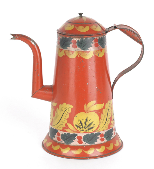 The vibrant colors with red ground made the difference in this Pennsylvania tole-decorated tin coffeepot from the Keller-Keener family in Manheim. It brought $15,405. Image by Pook & Pook Inc.