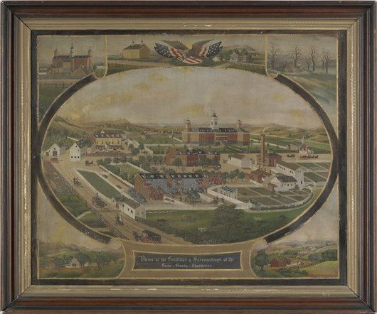 Having been exhibited at the Abby Aldrich Rockefeller Folk Art Center in 1968, this oil on zinc scene of the Berks County Almshouse by John Rasmussen, a Pennsylvania itinerant painter, earned $33,180. Image by Pook & Pook Inc.