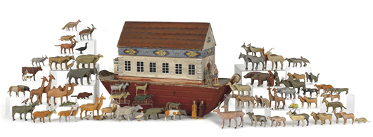 This oversize Noah's Ark set measuring 31 inches long and having 124 animals and figures sailed to $21,330. Image by Pook & Pook Inc.