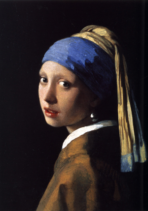 Johannes Vermeer (Dutch, 1632-1675), 'Girl with a Pearl Earring,' 1665, a faithful photographic reproduction of the original artwork from the collection of the Mauritshuis gallery in The Hague, Netherlands. The artwork is sometimes referred to as 'the Dutch Mona Lisa.'